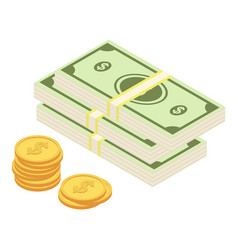 dollar coins icon isometric style vector image
