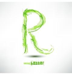 Drawn by hand letter Grunge green grass wav vector