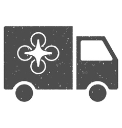 Drone Delivery Van Icon Rubber Stamp vector image