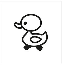Duck icon in simple monochrome style vector