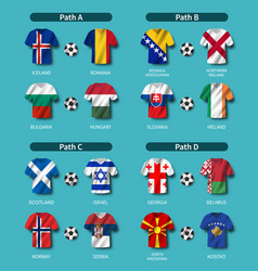European soccer play-off draw 2020 group of vector