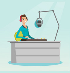 Female dj working on the radio vector