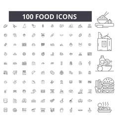 food editable line icons 100 set vector image