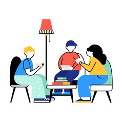 friends reading books vector image