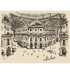 Gallerie Viktora shopping center in Milan Italy vector