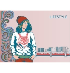 Girl in fashionable clothes Hipster vector image