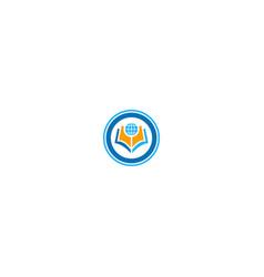globe open book knowledge logo vector image
