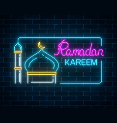Glowing neon ramadan kareem greeting text with vector