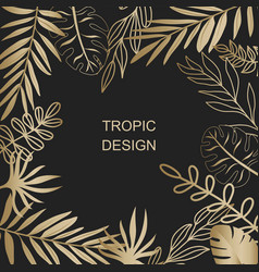 gold exotic leaves background vector image