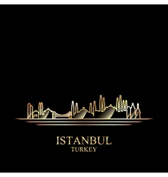 Gold silhouette of istanbul on black background vector