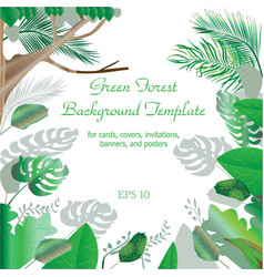 green forest frame and border background template vector image