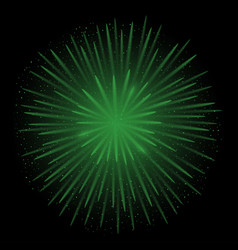green realistic fireworks vector image