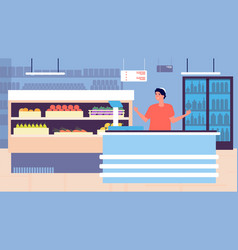 Grocery store shopping retail store interior and vector