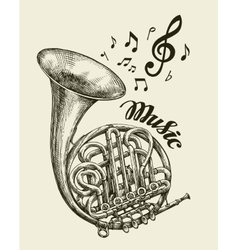 Hand-drawn musical french horn Sketch vintage vector