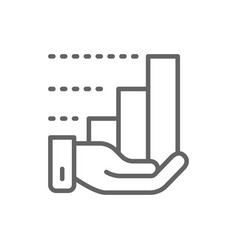 hand with growth chart line icon vector image