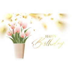 happy birthday card template with golden confetti vector image