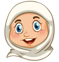 Happy muslim girl face vector