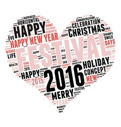 Happy New Year 2016 Cloud of words vector image