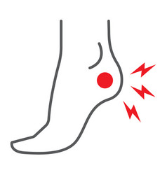 Heel pain thin line icon body and painful foot vector