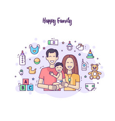 horizontal modern banner flat line design happy vector image