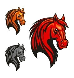 Horse stallion head and mane shiled icons vector