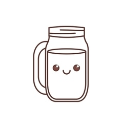 kawaii jar glass drinking liquid thin line vector image