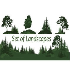 landscapes with trees silhouettes vector image