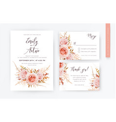 lelegant wedding invite rsvp thank you card set vector image