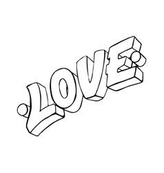love word drawn hand vector image