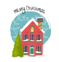 Merry Christmas house art with holiday decoration vector