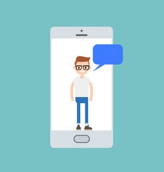 Millennial boy talking on the smart phones screen vector