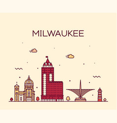 milwaukee skyline wisconsin usa linear city vector image