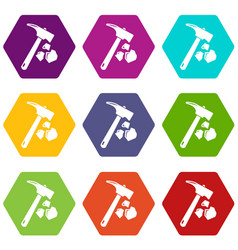 minning hand hammer icons set 9 vector image