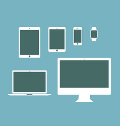 mobile tablet notebook computer flat icon set vector image