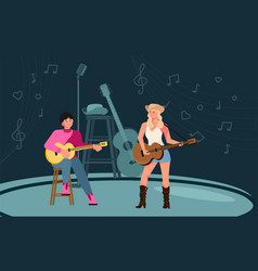 Musicians on stage vector