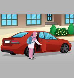 Muslim girl entering a car vector