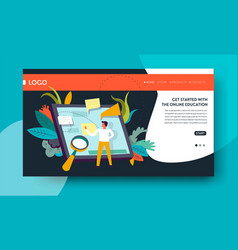 online education web page template studying and vector image