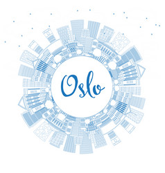 Outline oslo norway city skyline with blue vector