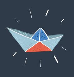 paper ship on dark vector image