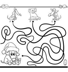 paths maze game with dogs for coloring vector image