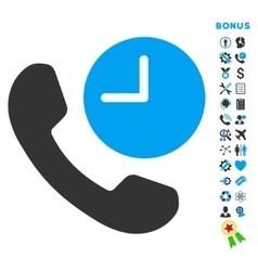 Phone Time Flat Icon with Bonus vector