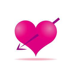 Pink heart arrows piercing icon vector