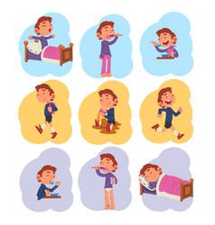 Preschool kid daily routine activities collection vector