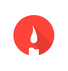 Red candle icon with long shadow vector