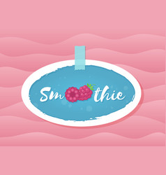 Red raspberry smoothie cocktail drink label design vector
