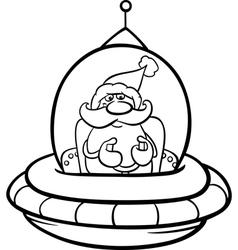 santa in spaceship coloring page vector image