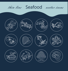 Seafood thin line icons set vector