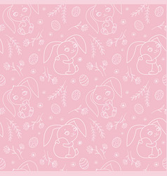 seamless pattern with cute bunnies for easter vector image