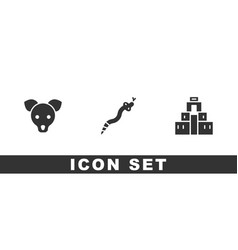Set dog snake and chichen itza in mayan icon vector