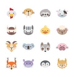 set flat animal icons 2 vector image